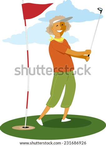 Senior female golfer doing a swing with a golf club, vector illustration - stock vector