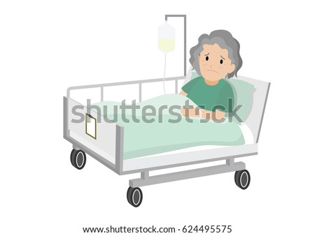 Senior Female Patient Resting In Hospital Bed. Sad Old Woman Lying In A Hospital  Bed