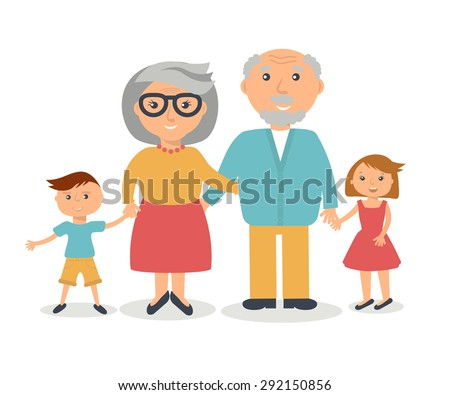 Senior grandparents with their grandchilds. People family concept. Flat style vector. Grandparent`s day illustration. - stock vector