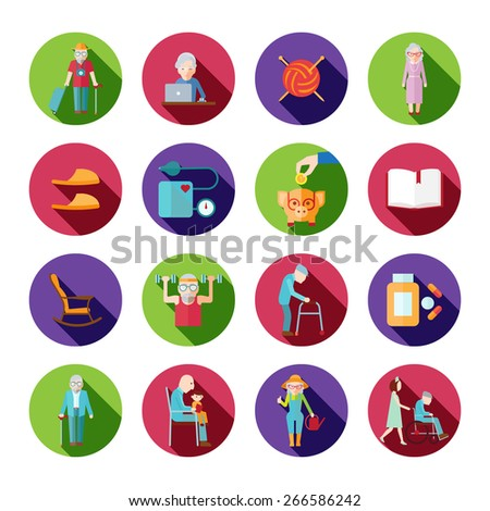 Senior lifestyle icons set with old people symbols isolated vector illustration - stock vector