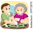 Senior looking at Pictures - Vector - stock photo