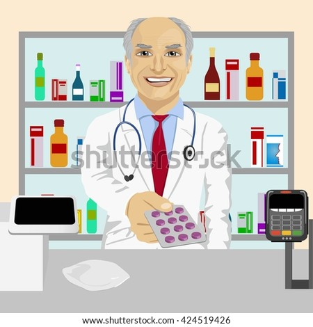 Senior male pharmacist giving pills in blister pack standing in a drugstore in front of medications on showcase - stock vector