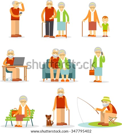 Senior man and woman activities - walking, fishing, using mobile phone and computer - stock vector