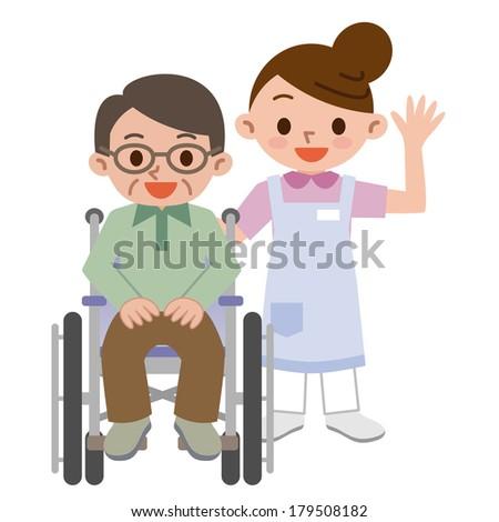 Senior man in a wheelchair with a young caregiver - stock vector