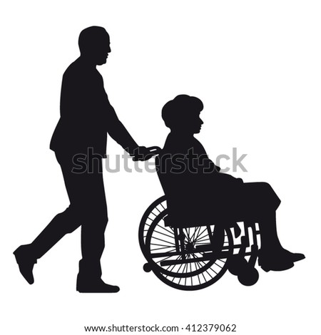 Senior man pushing wheelchair with physically disabled old woman silhouette isolated