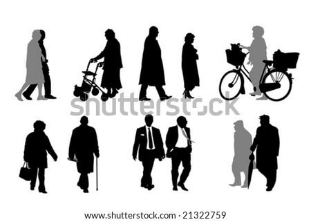 senior  silhouettes  collection - stock vector
