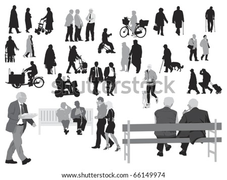 senior  silhouettes collection - stock vector