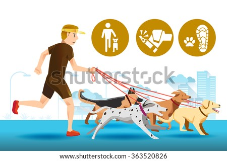 Senior trainer have control his dog. Dogs that are trained well. Icon of dogs trainer. Pet care in public.People with leader. Pet in city. Exercise with a dog.Graphic design and vector EPS 10. - stock vector