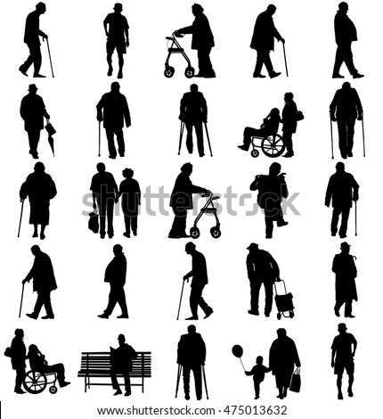 Seniors mature persons in many walking pose, casual active life. Old man persons walking with stick. Vector characters isolated on white background. Group of grandpa and grandmother vector silhouette.