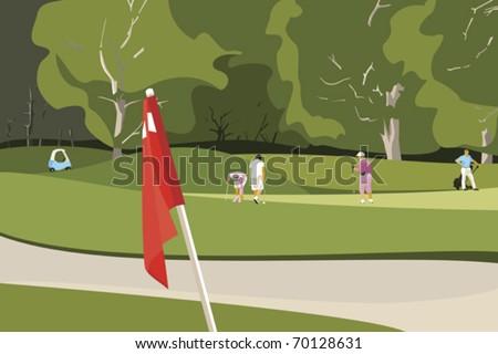 Seniors Playing Golf - stock vector