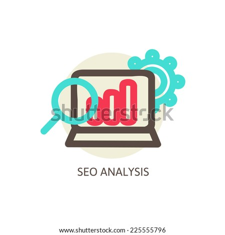 SEO analysis process vector concept vector illustration - stock vector