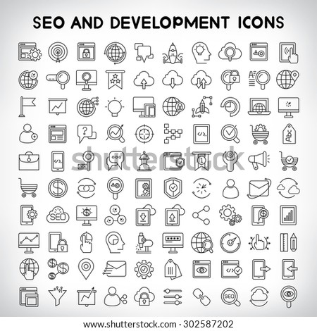 seo and development icons set - stock vector