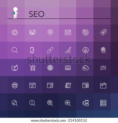 SEO and development line Icons set. Vector illustration. - stock vector