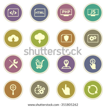 SEO and development stickers label icon set