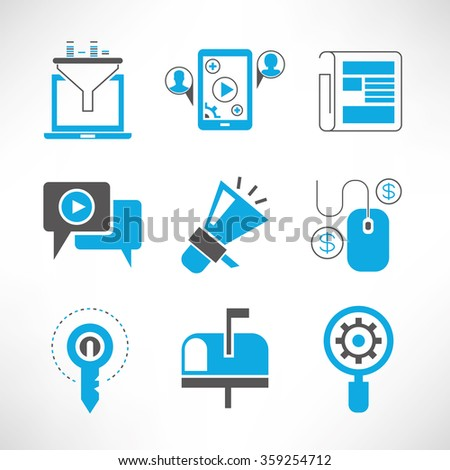 seo and internet marketing icons - stock vector