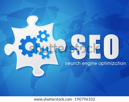 SEO and puzzle piece with gear wheels, search engine optimization text over blue background with world map, flat design, business technology concept words, vector - stock vector