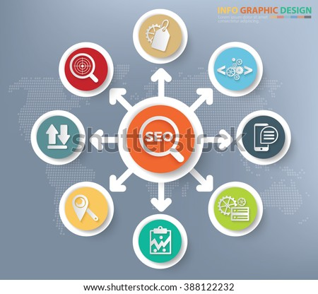 SEO and web development concept info graphics design, clean vector - stock vector