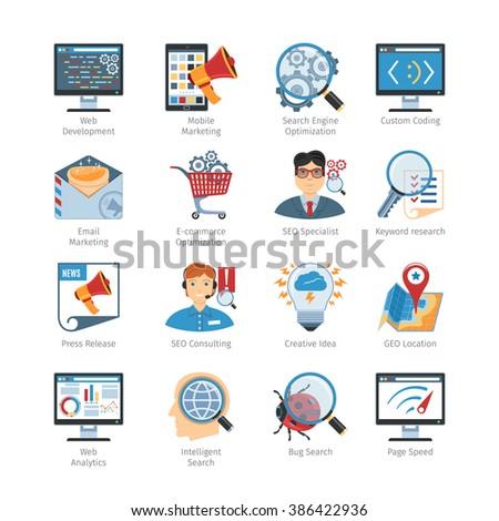 SEO And Web Development Flat Icons Set. SEO And Web Development Icons Vector set. SEO And Web Development Icons Picture set. SEO And Web Development Icons Image set. SEO Isolated Icons set - stock vector