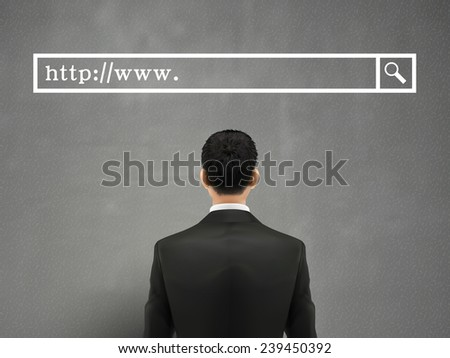 SEO concept: businessman with a search box above head