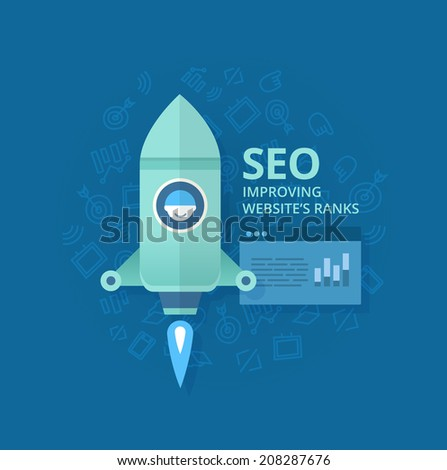 Seo concept. Modern business concept in flat design style of search engine optimization for web, mobile applications, business, social networks, e-commerce - stock vector