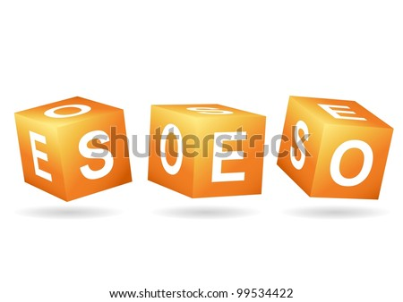 SEO cubes isolated - stock vector