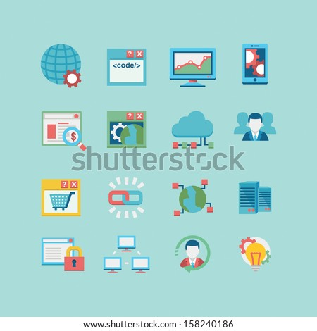 SEO & database icon set - stock vector