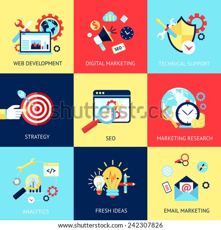 SEO flat concept set with web development digital marketing technical support isolated vector illustration - stock vector