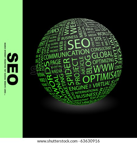 SEO. Globe with different association terms. - stock vector