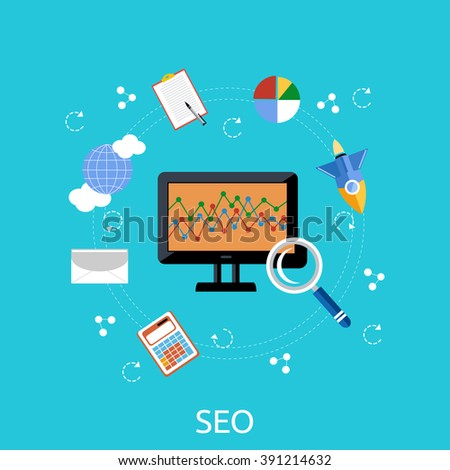 SEO icons poster on white. Pictogram websites and mobile applications. Search engine optimization. SEO optimization, programming process and web analytics elements in flat design. Monitoring, traffic - stock vector