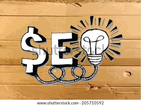 Seo Idea SEO Search Engine Optimization on Cardboard Texture illustration - stock vector
