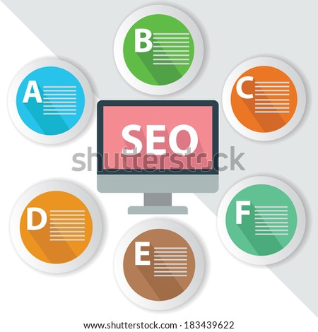 SEO Infographics,for text,Colorful vector - stock vector