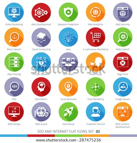 SEO Internet And Development Long Shadow Flat Icon Set 02 - stock vector