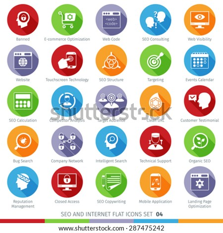 SEO Internet And Development Long Shadow Flat Icon Set 04 - stock vector