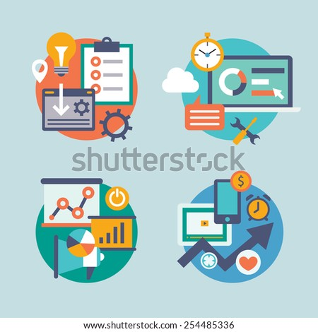 Seo internet marketing flat icon set, business analytics, marketing, sets for infographics, the goal of the strategy. Icons can be used for web sites, print and presentation templates, promotional. - stock vector