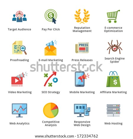 SEO & Internet Marketing Flat Icons - Set 3 - stock vector