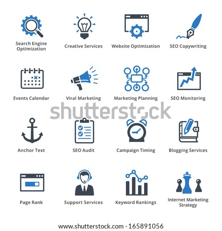 SEO & Internet Marketing Icons - Set 5 | Blue Series - stock vector