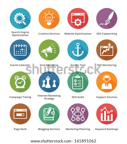 SEO & Internet Marketing Icons - Set 5 | Long Shadow Series - stock vector