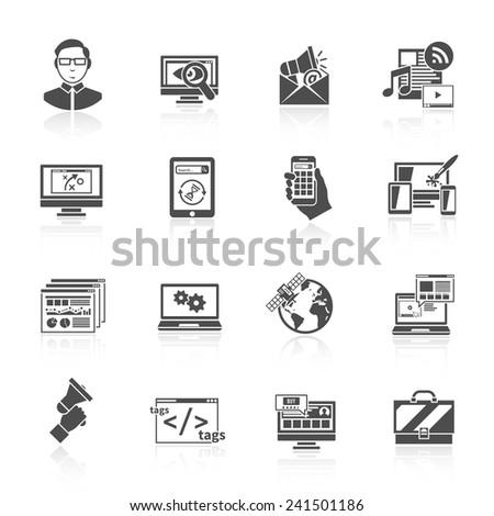 Seo internet marketing software optimization icon black set isolated vector illustration - stock vector