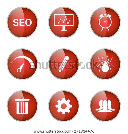 SEO Internet Sign Red Vector Button Icon Design Set 8