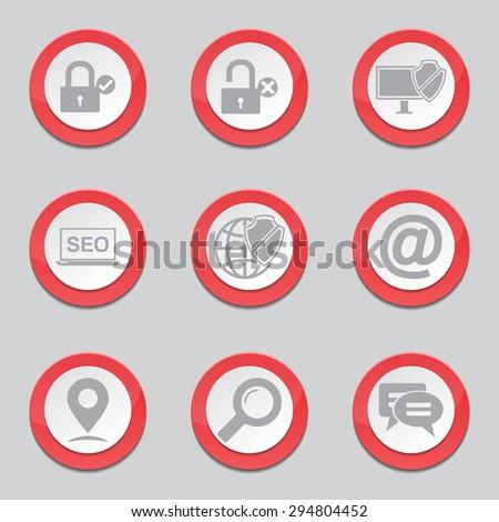 SEO Internet Sign Red Vector Button Icon Design Set 3 - stock vector