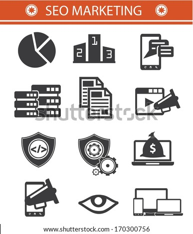 SEO Marketing icons,Black style,Version 01 - stock vector