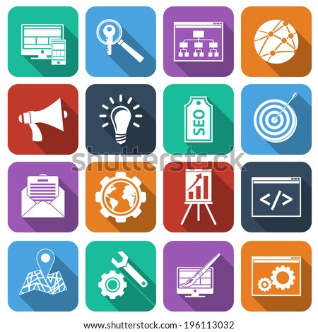 SEO mobile computer website optimization analysis icons flat set isolated vector illustration - stock vector