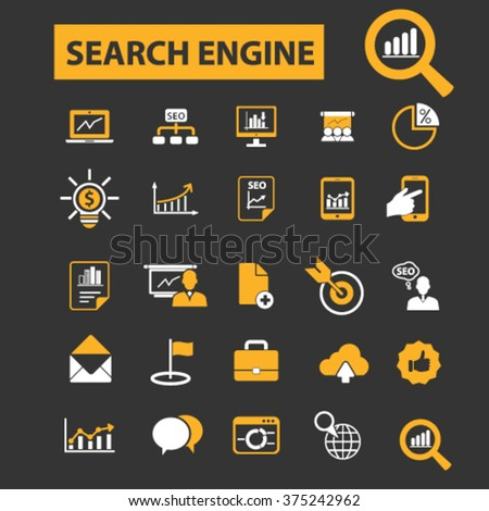 seo optimization icons, search engine icons, seo promotion, seo concept  - stock vector