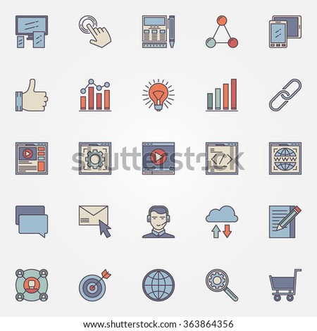 SEO optimization icons set - vector colorful internet signs or logo elements - stock vector