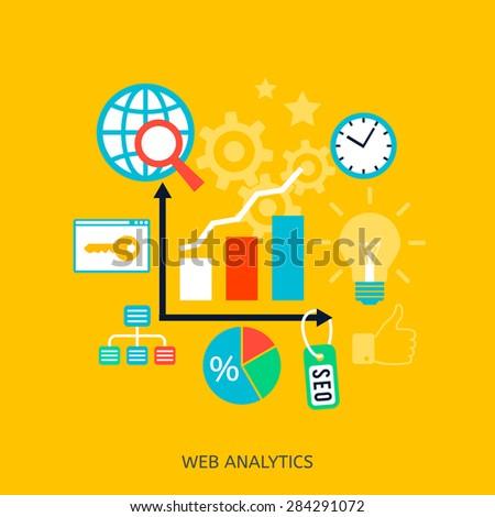 SEO optimization icons. Web development, internet marketing, web design, tags, target strategy, keyword research, analysis - stock vector