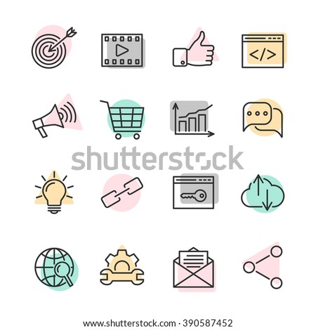 SEO optimization line icons with colorful spots. Web development, internet marketing, web design, analysis