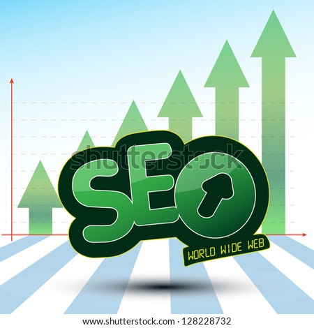 SEO Process Graphics with Green Arrow Up Searching Engine Optimization, SEO, an Icon which show the World wide web (WWW) Process used for a success Optimization on the web and Growing Green Arrows. - stock vector