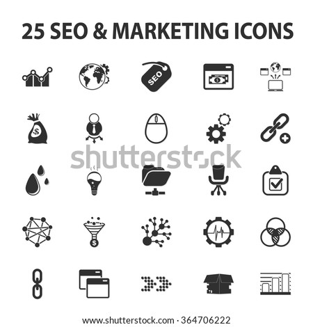 SEO, promotion, marketing, marketer 25 black simple icons set for web design - stock vector