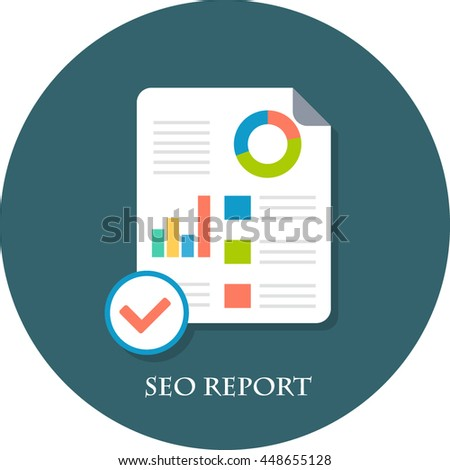 seo report flat icon stock vector royalty free 448655128