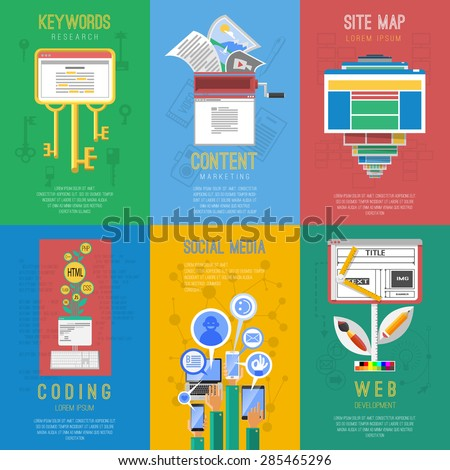 Seo search engine keywords optimization coding 6 flat icons for social media composition poster abstract vector illustration - stock vector